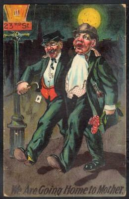Comic Anti-Temperance Embossed PPC 1909 - Drunks Going Home to Mother