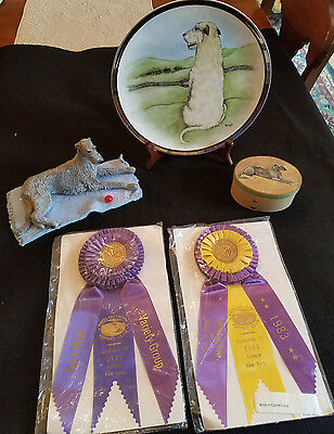 Lot of Vintage Irish Wolfhound Memorabilia-AKC Ribbons, Hand painted plate etc