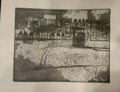 Zoltan Zalan etching The City 4/5 signed Hungarian artist