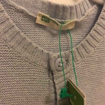United Colours Of Benetton Baby Boy Blue Cardigan Size 2-3 Month New With Tags
