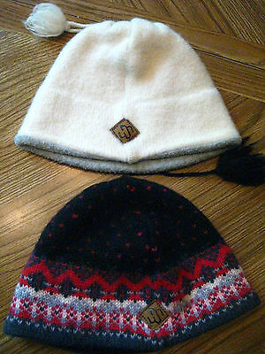 TWO  MERKLEY  Knit Cap Wool Beanie Ski Hat  Multi Colored  and White