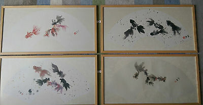 SET OF 4 - Genuine SUN LIN Coloured Fish - Ink on Xuan Paper & Silk - rrp £800