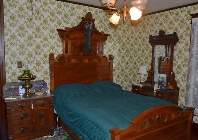 Victorian Eastlake Walnut and Burl Full Size Bed~circa 1875 W/steel spring