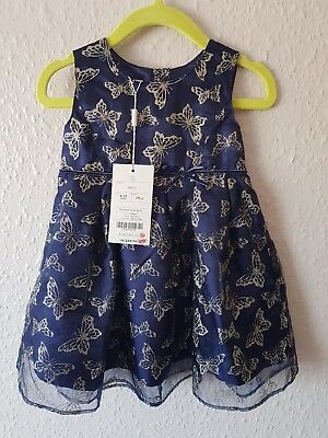 Baby girls Monsoon party Christmas dress navy gold buterfly on 6-12 mths New