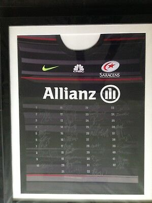 Player Signed Saracens Rugby Shirt Framed - covered in plastic and unopened.