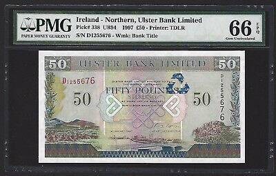 1997 Northern Ireland 50 Pounds Ulster Bank, PMG 66 EPQ GEM UNC, P-338, Last One