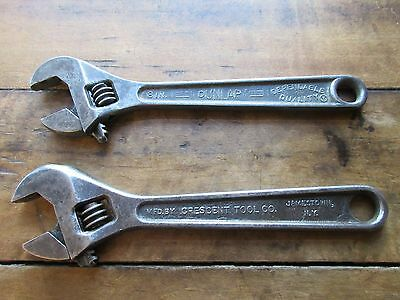 """Vtg Pair Of 8"""" Adjustable Wrenches Crescent, Dunlap Usa"""