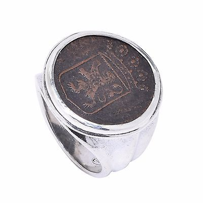 sterling silver ancient coin ring, silver men's ring,medieval colonial coin ring