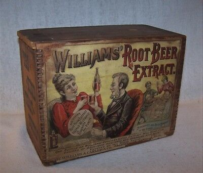 Fine Antique Wooden Crate / Box with Paper Labels - Williams Root Beer Extract