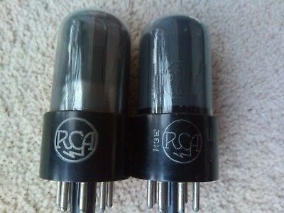 2 RCA 6SN7 GT valves tubes 1950's smoked glass avo tested Free worldwide ship
