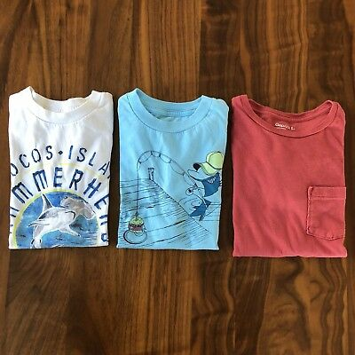 Lot of 3 Gap Kids T Shirts Boys Small 6-7 Cotton Red Blue White