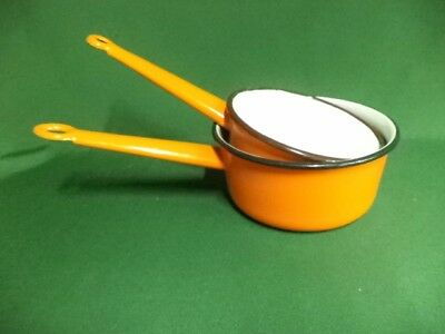 2 x FRENCH VINTAGE RETRO SHABBY CHIC ENAMEL PANS  great for camping (Ref 285)