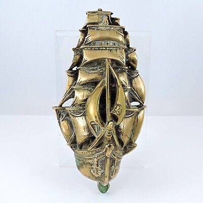 "Large antique heavy brass ""Cutty Sark"" door knocker,  c. 1910,  Rd No 569798"