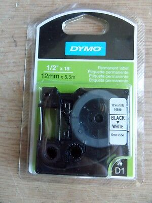 New DYMO 16955 D1 Permanent Label Tape 1/2inx18ft Black on White Free Ship