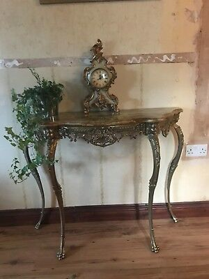 """antique hall table, gilt metal frame with marble top, 32""""h40""""w 14""""d vgc"""