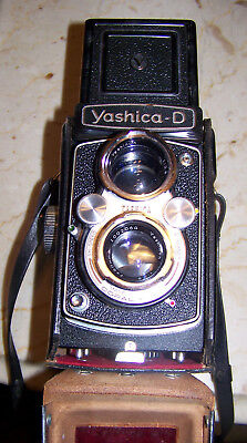 Vtg Yashica Model D Copal MXV Twin Lens Camera w/Lens & Leather Case-Pre-Owned