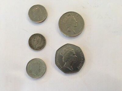 Great Britian 3, 5, 10 & 50 Pence Coins - 1 Lot of 5 Coins