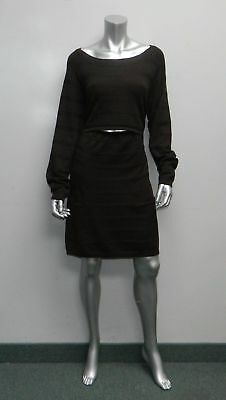 RIPE MATERNITY NEW Dark Brown Textured Boat Neck Nursing Sweater Dress sz XL