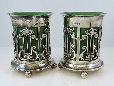 Pleasing matching pair of Art Nouveau silver vases Roberts & Belk Sheffield,1908