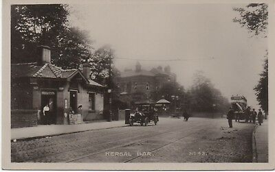 Super c1910 RP:  PRESTWICH nr Manchester Kersal Toll Bar, early car & tram