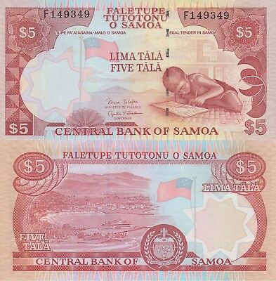 Samoa 5 Tala (ND) - Child/Port City/p33b UNC