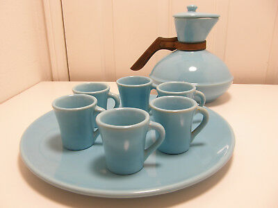 Authentic Catalina Island Pottery Plate, Carafe & 8 Demitasse cups LT 25