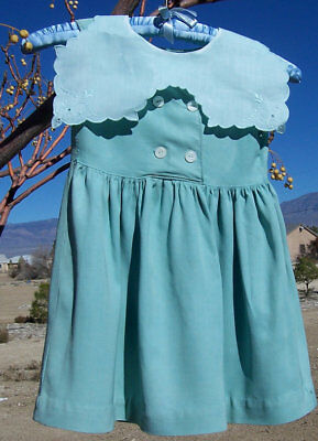 Vintage Wool Little Girl Dress Jade Green Wide Linen Collar Toddler Kindergarten