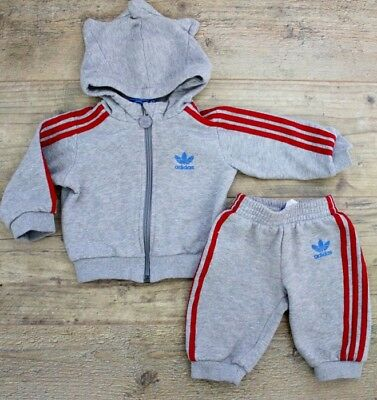 Adidas Baby Boys Grey Red Tracksuit Outfit Jacket Joggers Trousers Age 3-6 M