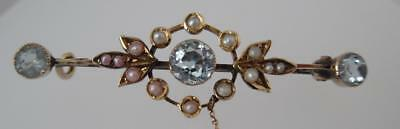 Original Art Nouveau 9ct Gold Aquamarine & Seed Pearl Bar Brooch/Pin (169