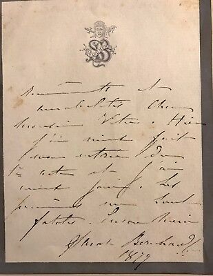 Sarah Bernhardt. Autograph Note Signed. Tipped-In To Artist And Woman by Renner