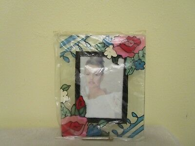 Photo Frame 3.5X5 With Floral Design And Beautiful Stained Glass Nip