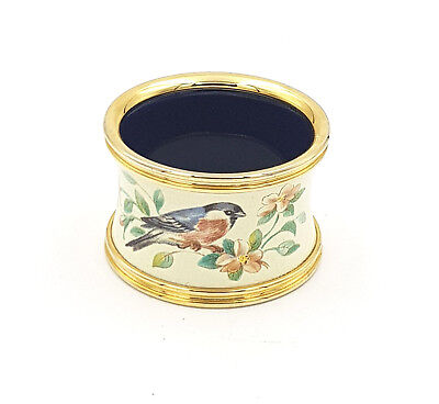 Heritage Stafford Enamels Bird On Pink Blossoming Branch Napkin Ring Holder- Bxd