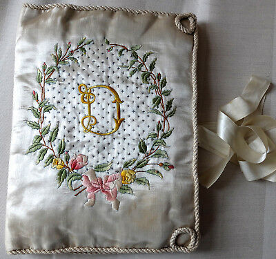 Antique French hand embroidered silk satin handkerchief case with 'D' monogram
