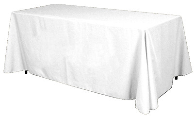 Table Throw by Epic  6' Long Highest Quality, 4 Sides 7 oz Polyester White Color