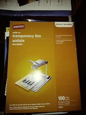 """STAPLES Write-on transparency film 100 sheets 8.5"""" x 11"""""""