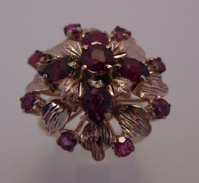 Vintage 1950s 18ct 750 Heavy Solid Gold Ruby Cluster Cocktail Ring 5.3g   (173