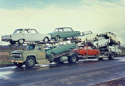 """5x7"""" photo TRUCK LOAD OF FORD FALCONS"""