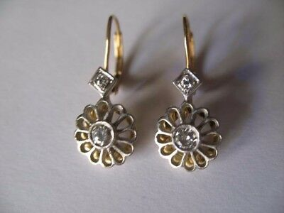 ART DECO 14K YELLOW/WHITE GOLD VINTAGE DIAMOND EARRINGS---0.26cts.   LEVERBACK.
