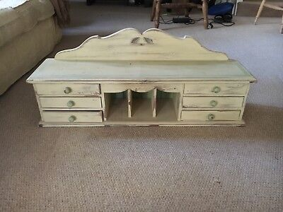 Wooden writing bureau or bookcase top with drawers and letter storage