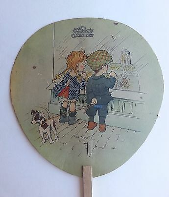"""Vintage Kibbe's Candies Advertising Fan - """"His Treat"""" Springfield, MA"""
