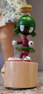 Vintage Wood Wooden Warner Brothers Marvin The Martian Push Up Dancing Puppet