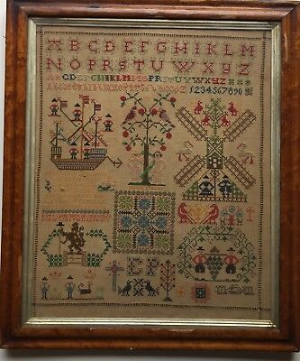 Gorgeous 19th c Antique  Tree of Life, Boat, Windmill Spot Motif  Sampler