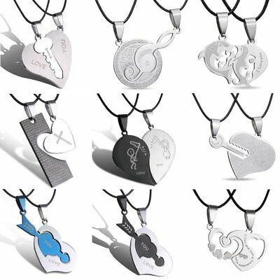 2pcs Valentine's Day Stainless Steel HIS&HERS Heart Pendant Necklace Couple Gift