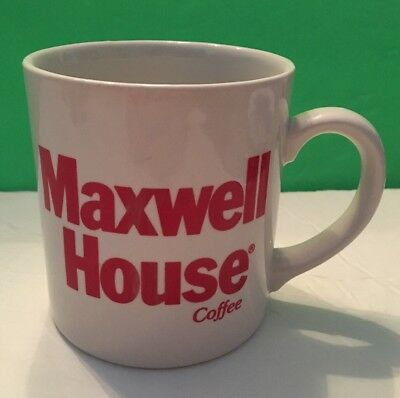 VINTAGE MAXWELL HOUSE COFFEE MUG White/ Red Words CUP MADE IN ENGLAND Ships Free