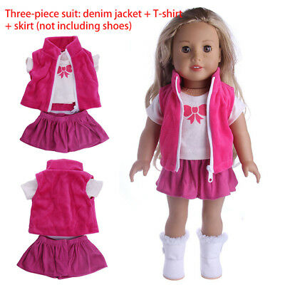 3pcs Fancy Pleated Dress Shirt Coat Clothes for 18'' American Girl Doll Outfit