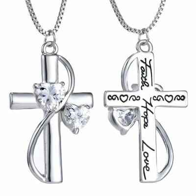 Women Silver Crystal Faith Hope Love Cross Pendant Necklace Mother's Day Gift