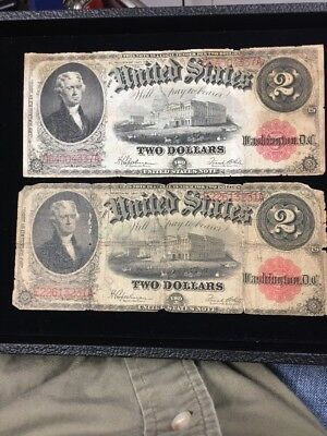 1917 $2 Legal Tender Note Lot Of 2 Average Circulated Honest Ware