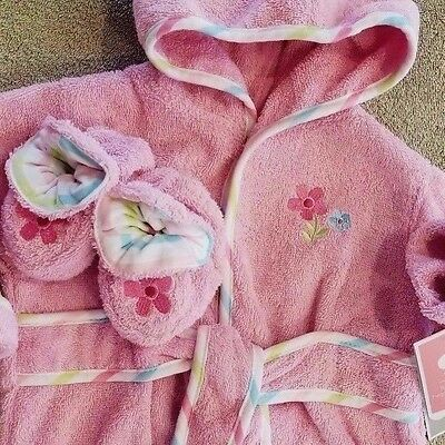 Darling! New Just Born 0-9 Month Pink Frog 2Pc Hooded Bathrobe & Slippers