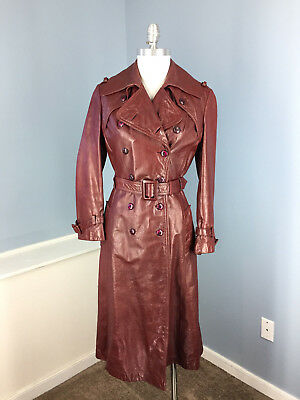 Vintage Etienne Aigner Womens Leather Long Trench Coat Excellent S Oxblood Burg
