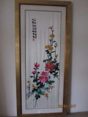 VTG Japanese Silk Embroidery of large Rose Flowers  Framed Beautiful